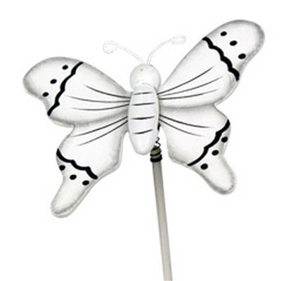 <h4>Pique Papillon flying bois 5x6cm+bâton 20cm blanc</h4>