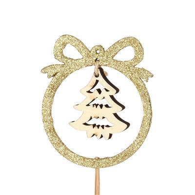 <h4>Bijsteker kerstboom Ben 8,5x7,5cm+50cm stick goud</h4>