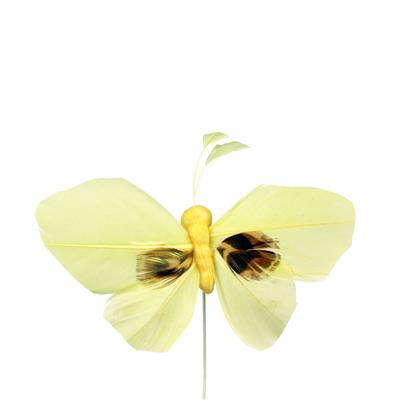 <h4>Bijsteker Butterfly 6x10cm+12cm draad 48 st. geel</h4>