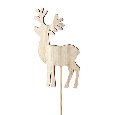 <h4>Renne en bois 6x11cm sur tige 12cm naturel</h4>