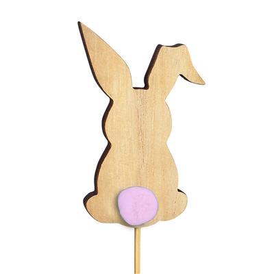 <h4>Bijsteker Bunny pompon hout 8x5cm+12cm stok roze</h4>