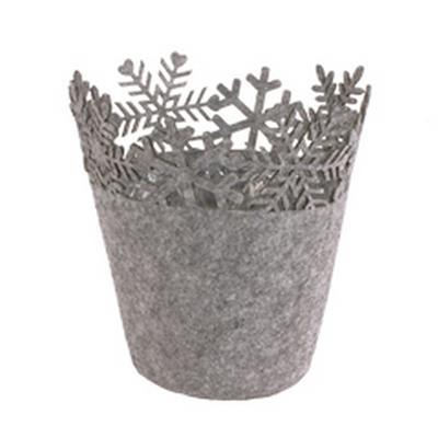 <h4>Pot Flocon de neige feutre ES9xH12cm gris</h4>