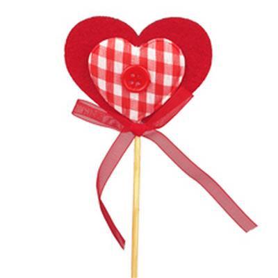 <h4>Pique Cœur feutre gingham 5x6+12cm sur tige rouge</h4>