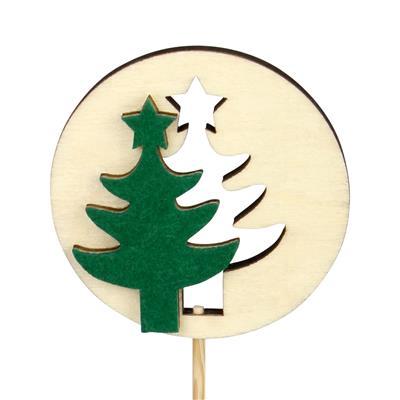 <h4>Bijsteker kerstboom hout+vilt Ø6cm+12cm stok groen</h4>