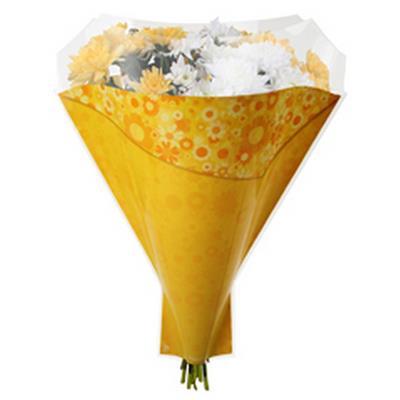 <h4>Housses imprimées 52x35x10cm OPP40 Flowery jaune</h4>