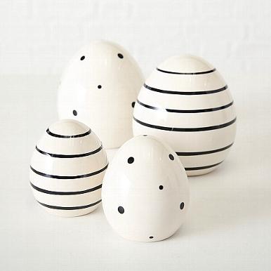 <h4>Decorative object Ei Finn, 2 ass., H 8 cm, Stoneware, Black, White stoneware colour-mix</h4>