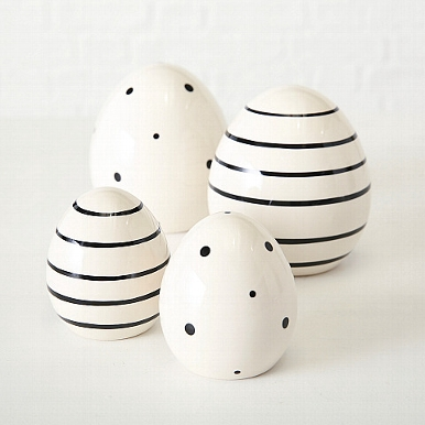 <h4>Decorative object Finn, 2 ass., Egg, H 11 cm, Stoneware, Dotted, Striped stoneware colour-mix</h4>