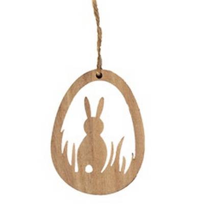 <h4>Pendentif Egg+Rabbit bois 8x6cm+8cm jute corde</h4>