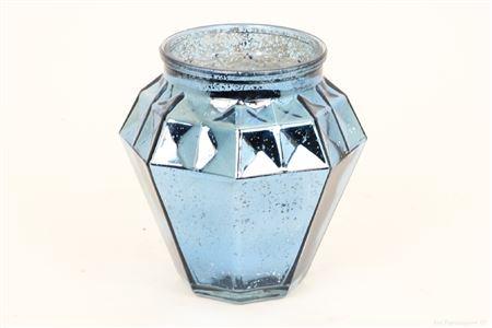 <h4>SHIMMER ETCHED TLIGHT GLASS ROUND H16.0 D14.0 BLUE 861824059</h4>
