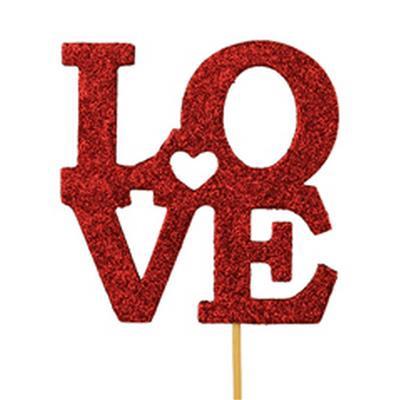 <h4>Pique Love Paillettes foam 10x10cm+50cm+tige rouge</h4>