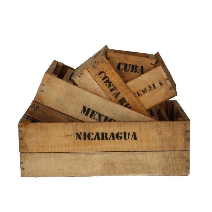 <h4>Wood Box Countries S/6 d48*30*19cm</h4>