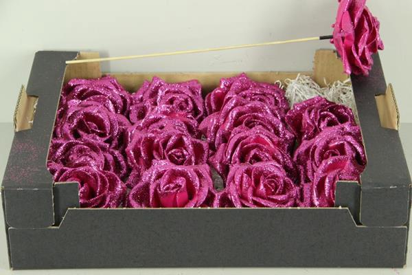 <h4>Wax Rose Cerise Glt + Stk 30cm</h4>