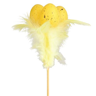 <h4>Pique oeuf x3 4cm+ plumes 9x7+12cm bâton jaune</h4>