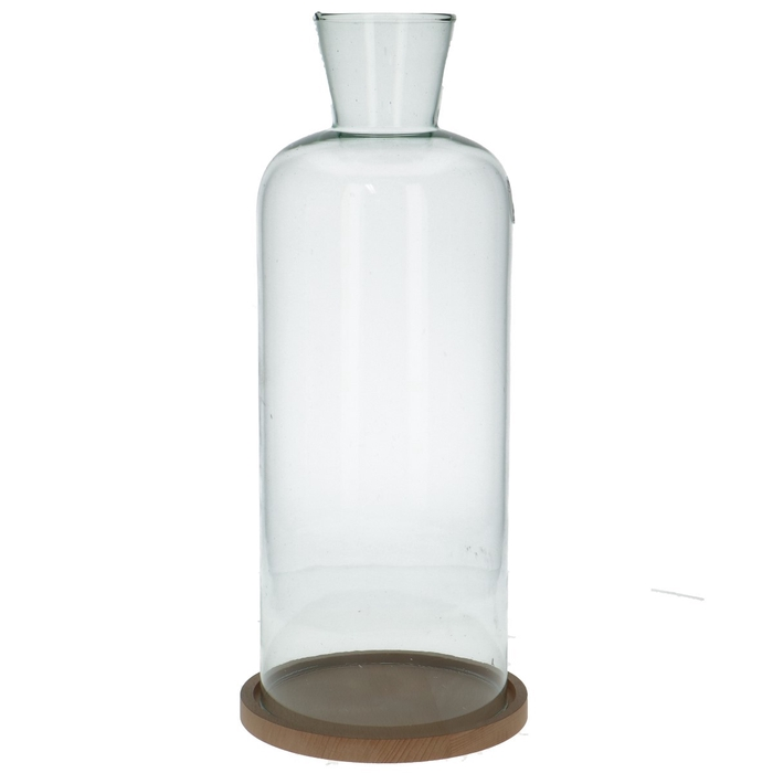 <h4>Glass Cloche+wood d16*44cm</h4>