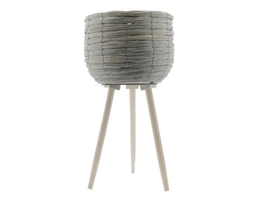 <h4>Basket W/feet Ø29x59 Grey/nat.</h4>