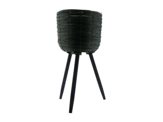 <h4>Basket W/feet Ø21x32 Green/blk</h4>