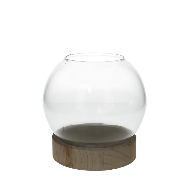 <h4>Glas Kogelvaas+voet hout d18*19cm</h4>