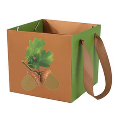 <h4>Bag Oak carton 14x14xH13cm brown/green</h4>