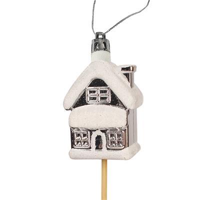 <h4>Bijsteker kerst huis plastic 6x4cm+12cm stok</h4>