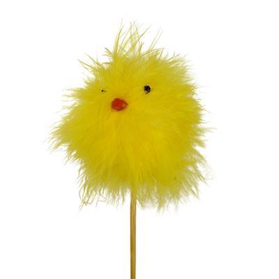<h4>Pique poussin Hairy 6x6cm + 50cm bâton jaune</h4>