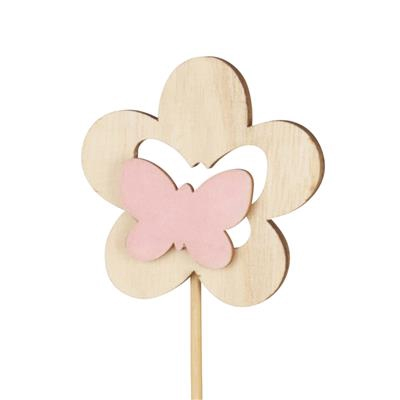 <h4>Bijsteker bloem hout+velvet 7cm+50cm stok roze</h4>