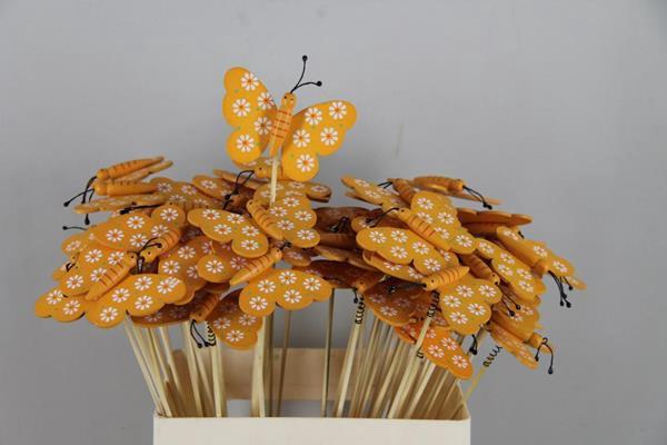 <h4>Stick Butterfly Wooden Orange</h4>
