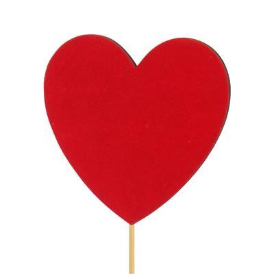 <h4>Pique le coeur velours bois 8x8cm+50cm bâton rouge</h4>