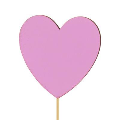 <h4>Pique le coeur velours bois 8x8cm+12cm bâton rose</h4>