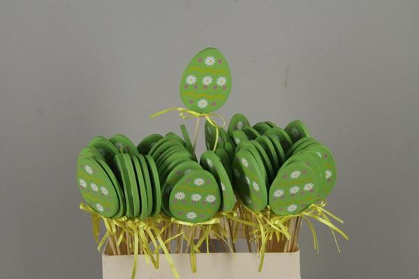 <h4>Stick Egg Wood+ribbon Green</h4>