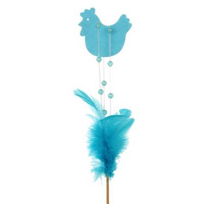 <h4>Pique poulet deco 16cm+bâton 12cm bleu clair</h4>