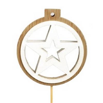 <h4>Bijsteker Lux Star hout 7cm+12cm stok</h4>