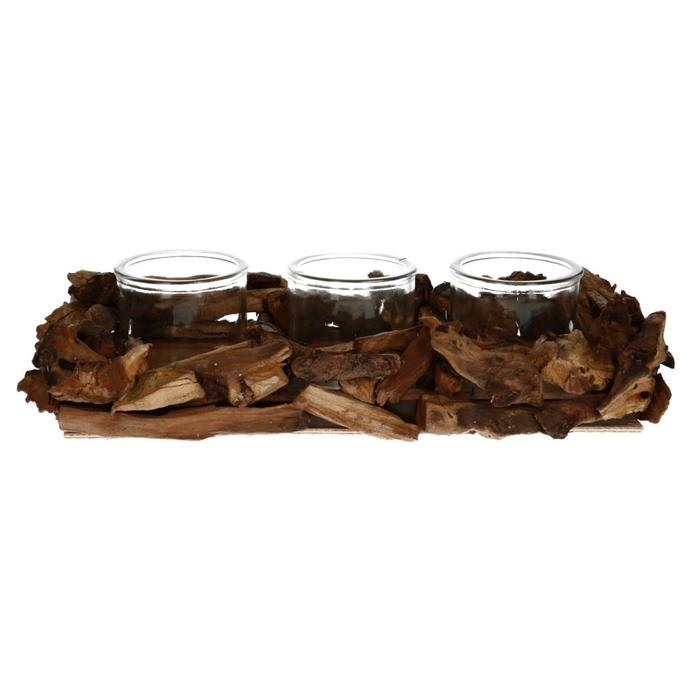 <h4>Glas Planter drijfh.+3pot 17*38*7cm</h4>