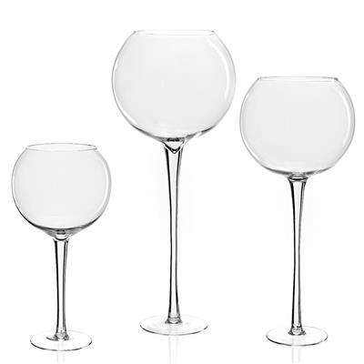 <h4>Vaas Globe glas op voet Ø19xH70cm transparant</h4>