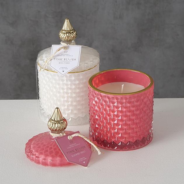 <h4>Candle pot Elaro, 2 ass., H 14 cm, D 8,5 cm, Wax, White, Pink Wax colour-mix</h4>