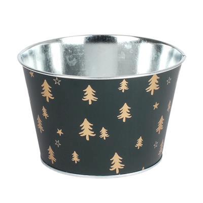 <h4>Schaal Winter Forest zink Ø15xH9,5cm groen</h4>
