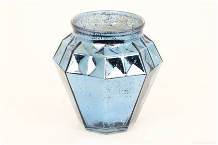 <h4>SHIMMER ETCHED TLIGHT GLASS ROUND H9.0 D9.0 BLUE 861824051</h4>
