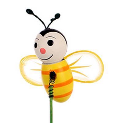 <h4>Pique Abeille happy bois 4,5cm+bâton 12cm jaune/no</h4>