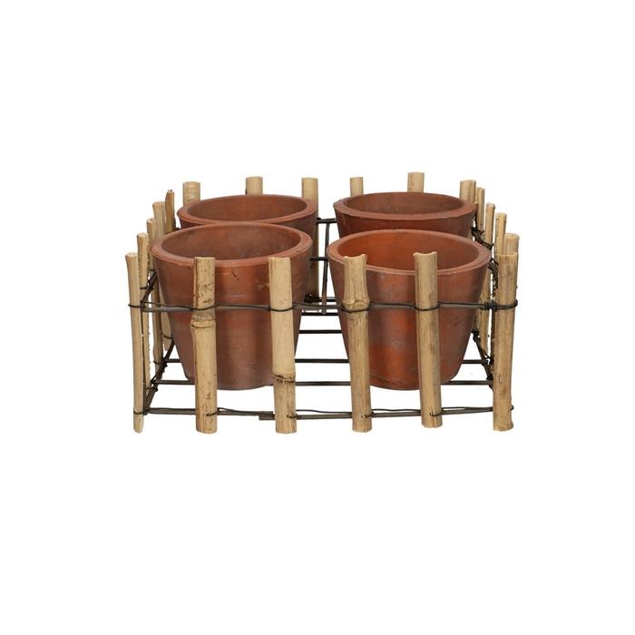 <h4>Sale Tray bamboo+4pot d24/24*12cm</h4>