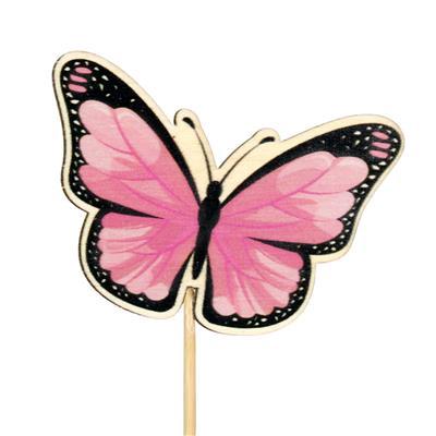 <h4>Pique papillon Single bois 6x7cm+12cm bâton rose</h4>