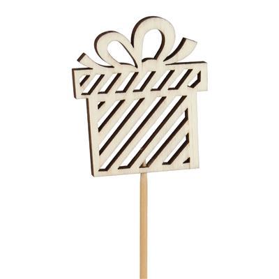 <h4>Pique boite cadeau bois 8x7cm+bâton 50cm</h4>