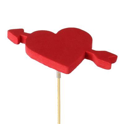 <h4>Bijsteker hart+pijl foam 7x10,5cm+50cm stok rood</h4>