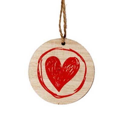 <h4>Pedentif disque + Paint coeur en bois 5.5cm rouge</h4>