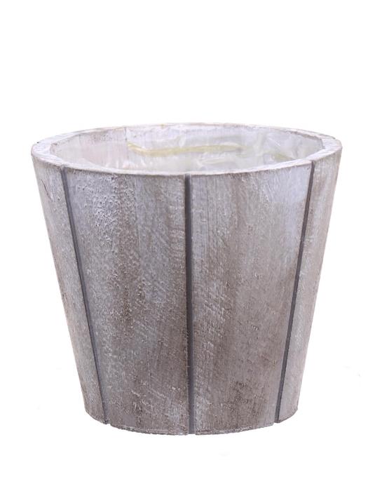 <h4>DF550090147 - Pot wood Arnelle d14xh12 white wash</h4>