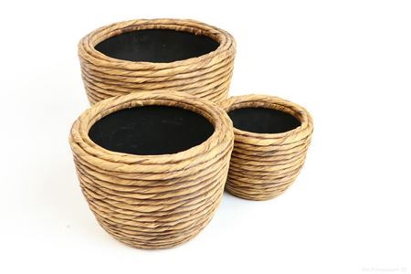 <h4>CRASSI ROPE S/3 POT NATURAL ARTIFICIAL ROUND BROWN WASHED 841800067</h4>