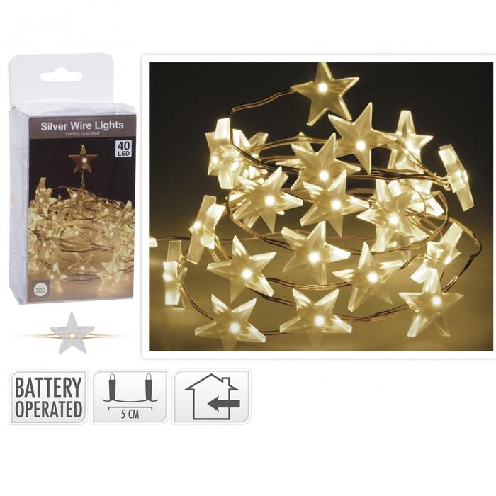 <h4>Kerst LED draad ster 40L 2m(ex.batt)</h4>