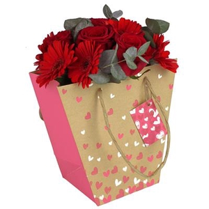 Bag Beloved kraft 21/12x11xH20cm pink + hangtag