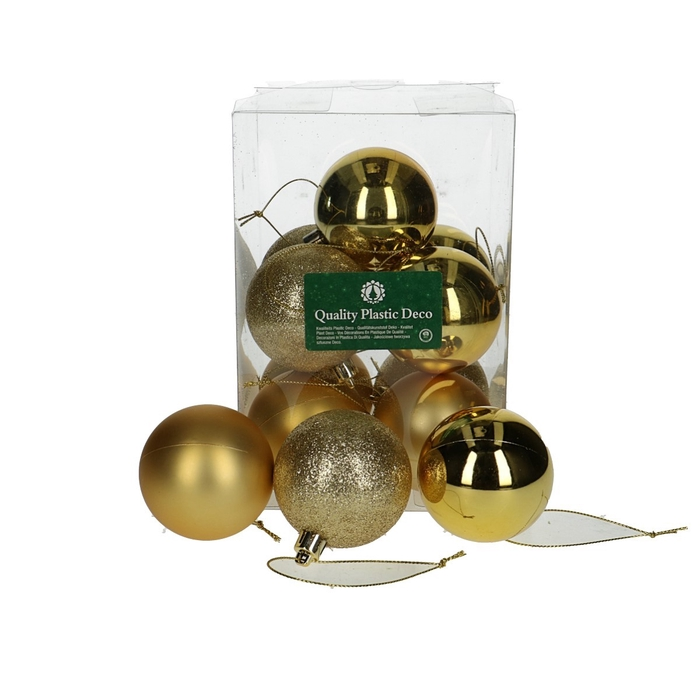 <h4>Christmas bauble Ball 60mm plastic deco x12</h4>
