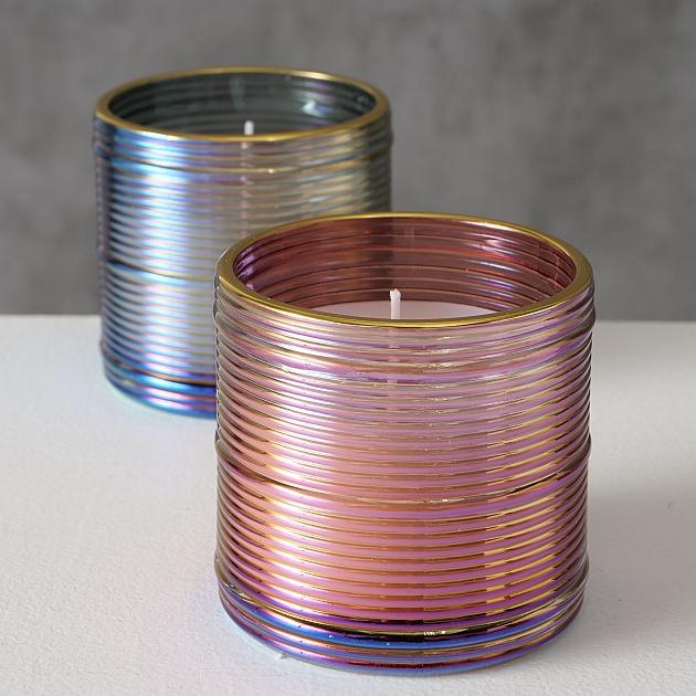 <h4>Candle pot Nemino, 2 ass., Round, H 7 cm, D 7 cm, Glass laquered, Wax mixed materials colour-mix</h4>