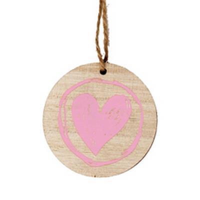<h4>Hanger schijf + Paint hart hout 5,5cm roze</h4>