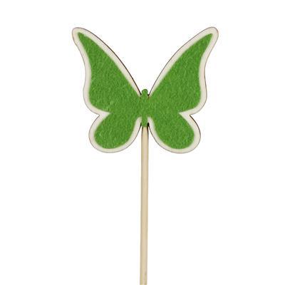 <h4>Pique Papillon bois+feutre 6x7cm+bâton 50cm vert</h4>